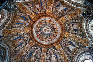 Depiction of Pentecost in dome of side chapel in the Basílica y Santuario de la Virgen de Ocotlán, Mexico.